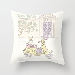 French Bulldog Scootering Fun Throw Pillow