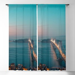 Fantastic Oakland Bay Bridge At Romantic Evening Red San Francisco California USA Ultra HD Blackout Curtain