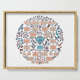 Illustrated Family Tree, colored orange, Genealogical Illustration of Ancestors and Descendants Serving Tray