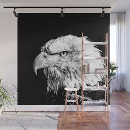 bald eagle 03 neon lines white Wall Mural