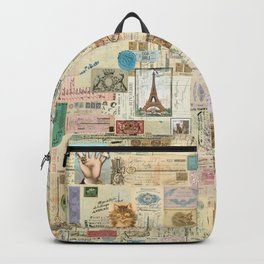 Quirky Documents pastel Patchwork Backpack