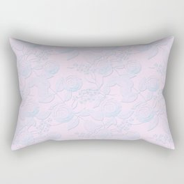 Delicate light blue roses on light pink background. Rectangular Pillow