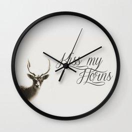 Oh Deer, kiss my horns. Wall Clock