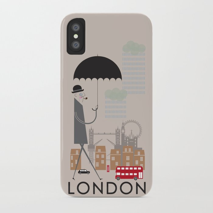 London - In the City - Retro Travel Poster Design iPhone Case