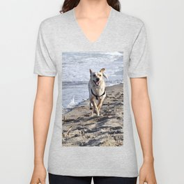 WHITE DOG in SICILY Unisex V-Neck