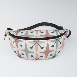Mid Century Modern Abstract Star Pattern 223 Teal Brown Dusty Rose and Gray Fanny Pack