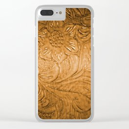 Golden Tan Tooled Leather Clear iPhone Case