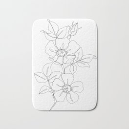 Floral one line drawing - Rose Bath Mat
