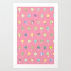 Cute Lollipop Pattern Art Print