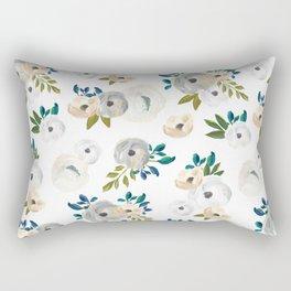 Sweet Blooms - Blue & Cream Rectangular Pillow