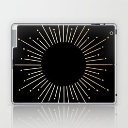 Sunburst Gold Copper Bronze on Black Laptop & iPad Skin