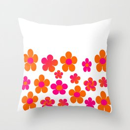 Hot pink and orange floral Throw Pillow