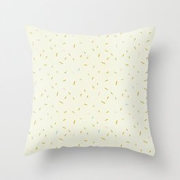 Hand painted ivory pink teal yellow gold brushstrokes confetti Throw Pillow