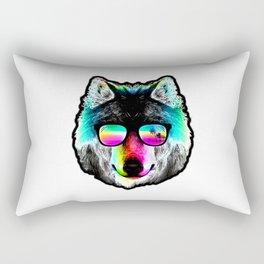 Wolf Rainbow Sunglasses Rectangular Pillow
