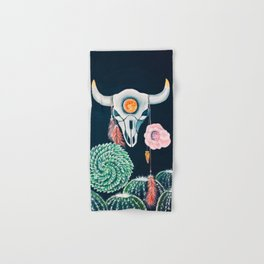 Cow Skull and Cacti on a Wolf Blood Moon Hand & Bath Towel