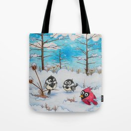 Winter: Two Chickadees and a Cardinal Tote Bag
