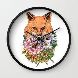 Fox Flower Wall Clock