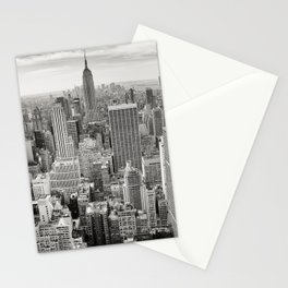 New York City black and white NYC skyline Empire State Building Big Apple skyscraper photograph Stationery Cards