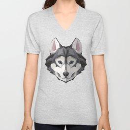 Triangular Geometric Siberian Husky Head Unisex V-Neck
