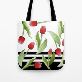 Modern Vintage Red Tulip Floral Patten Tote Bag