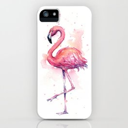 Pink Flamingo Watercolor Tropical Bird iPhone Case