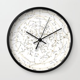 Star Chart of the Northern Hemisphere White Wall Clock