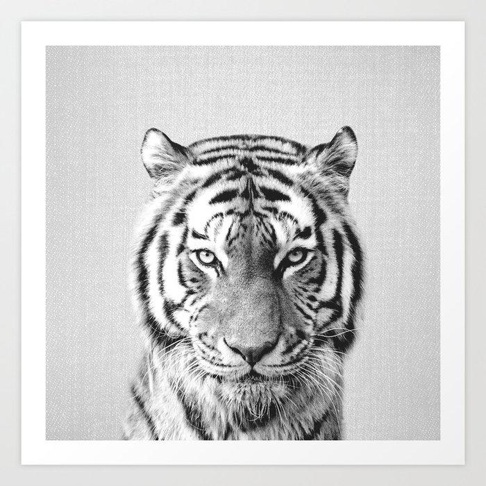 Tiger - Black & White Art Print