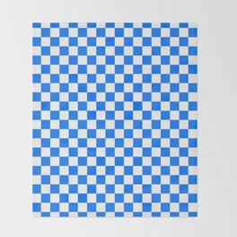 White and Brandeis Blue Checkerboard Throw Blanket