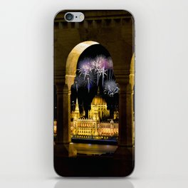Hungarian Parliament with fireworks, iPhone Skin
