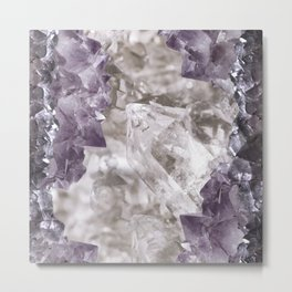 Soft natural quartz and amethyst crystal cluster Metal Print