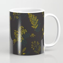 Thin delicate lines silhouettes of different plants. Coffee Mug
