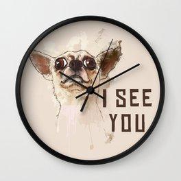 Funny Chihuahua illustration, I see you Wall Clock
