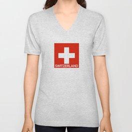 Switzerland country flag name text swiss Unisex V-Neck