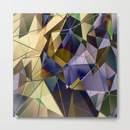 Purple and Bronze Gold Abstract Geometric Fractal Print Metal Print
