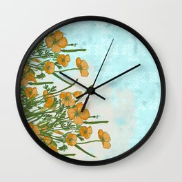 California Poppiess - Vintage inspired print - green orange blue watercolor Wall Clock