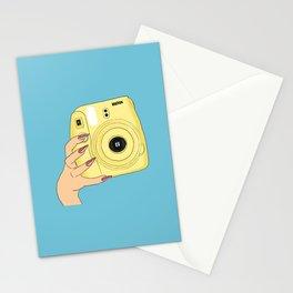 Yellow camera hand Stationery Cards