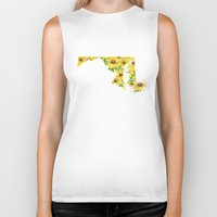 maryland Biker Tanks featuring Maryland in Flowers by Ursula Rodgers