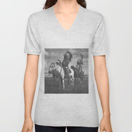 Sioux Native American First Nation Chiefs on the plains black and white photograph  Unisex V-Neck
