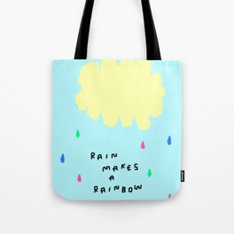 Rain Makes A Rainbow - pastel colorful illustration nursery kids room art Tote Bag