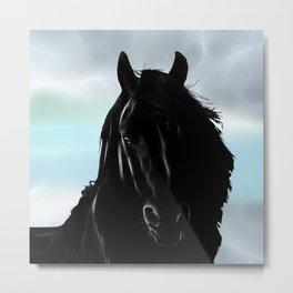 Friesian horse Metal Print