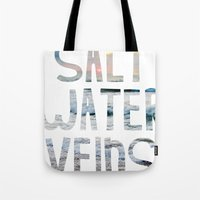 salt water Tote Bags featuring Salt Water Veins by Lacey Hilliard