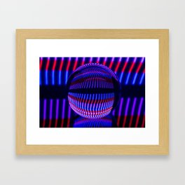 Red and Blue in the glass ball Framed Art Print