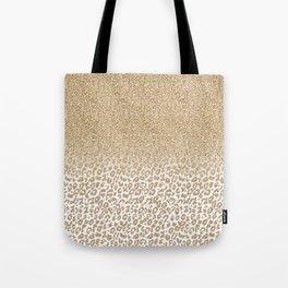 Trendy Gold Glitter and Leopard Print Gradient Design Tote Bag