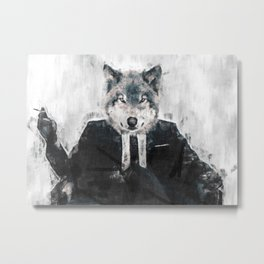 Wolf-inteligent sketch Metal Print