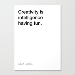 Einstein quote about creativity [White Edition] Canvas Print