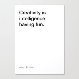 Einstein quote about creativity [White Edition] Canvas Print