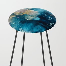 Timeless: A gorgeous, abstract mixed media piece in blue, pink, and gold by Alyssa Hamilton Art Counter Stool