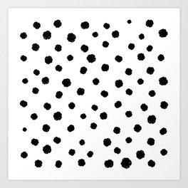 Hand-Drawn Dots (Black & White Pattern) Art Print