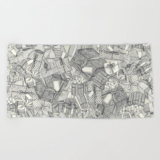 pencil parcels ivory Beach Towel