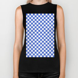 Small Checkered - White and Royal Blue Biker Tank